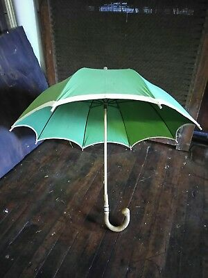 True Vintage Firenze Italy Cotton Canopy Umbrella Chestnut Wood Handle Designer