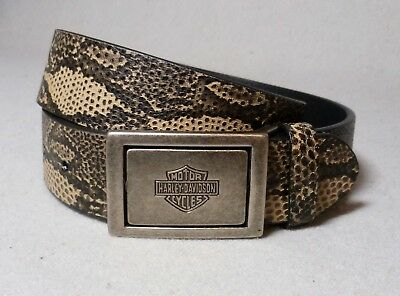 Harley Davidson Python Print Leather Two Sided Antique Metal Buckle Belt Size 32