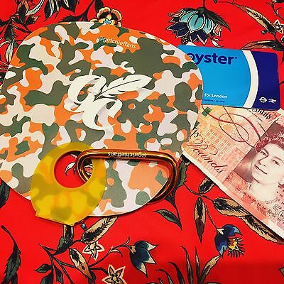 Orange Camouflage Plastic Hand fan Yellow Hand With Carabiner To Hold