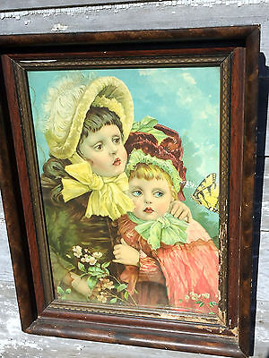 Antique Large Wood Frame With Victorian Lithograph Two girls Hugging Flowers