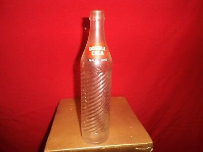 Vintage 16 Oz Double Cola Collectible Glass Embossed Soda Pop Bottle OLD Ounce