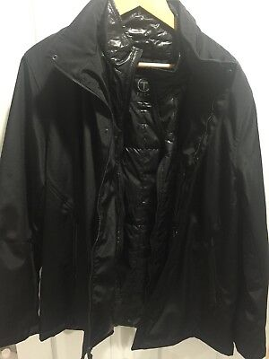 TUMI Black 4T-2013 T-Tech Coat Jacket with Hood Large NWT SRP $250