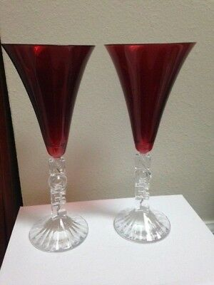 Crystal d'Arques Set of 2 NOEL Holiday Red Champagne Flutes Noel in orig box