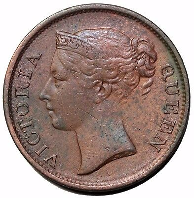 1845 British East India Company Straits Settlements 1/2 Cent Queen Victoria KM#2