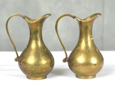 """Vintage Brass Vases Pouring Jars With Handles Lot Of 2 Length 4"""""""