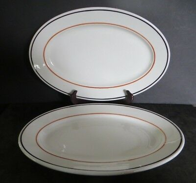 Scammell's China Restaurant Ware 2 large oval platters white / rust & black band