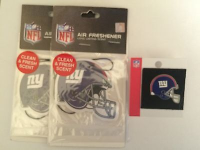 A Lot Of (3) Nfl New York Giants Air Fresheners And Helmet Lapel Pin Nwt & Nwot
