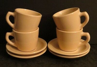 4 Sterling China restaurant ware tan cup & saucer vintage