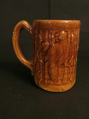 """McCoy brown parrot mug vintage stoneware Can Polly say, """"OLD!!!!!"""""""