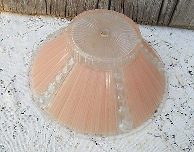 Antique Vintage Glass Light shade Art Deco Mid century pink and clear glass   #2