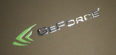 1x Geforce Green and Silver Decal Case Genuine 40mm x8mm Approx