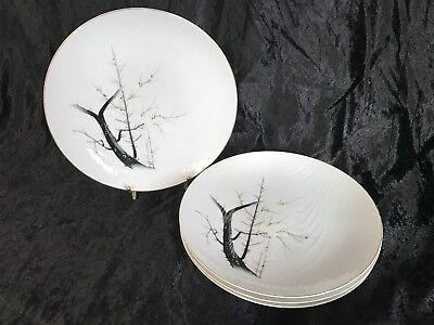 """Gold China Hand Painted Japan WHITE PLUM 10 1/8"""" Dinner Plates - Set of 4"""