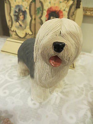 """Vintage Large Heavy Solid Gray White Sheep Dog  7 1/2"""" L And 7"""" Tall"""