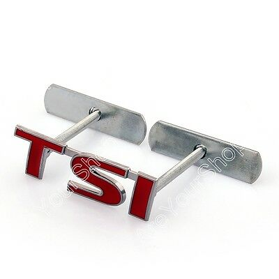 3D Metal Front Grille Grill Badge Emblem Decals TSI Red For GOLF TIGUAN GTI BS1