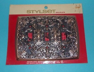 Vtg NOS Dexter Kysor Stylset Triple Switch Plate Raise Flower Bronze Copper Tone