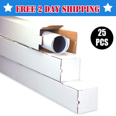 3x3x12 Strong White Box Corrugated Square Mailing Tube Shipping Maps Roll Poster