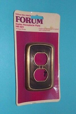 Vtg NOS NUTONE Hall Mack FORUM Outlet Plate Cover Ribbed Brass Tone