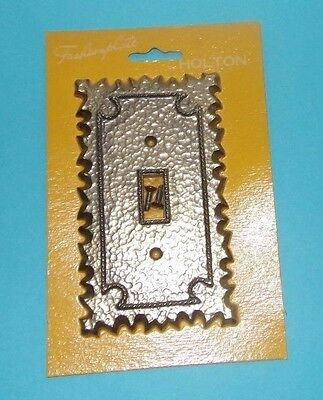 Vtg NOS Fashionplate Holton Single Toggle Switch Plate Cover Metal Brass Tone