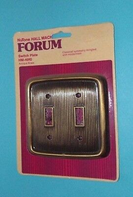Vtg NOS NUTONE Hall Mack FORUM Double Toggle Switch Plate Cover Ribbed (D3)