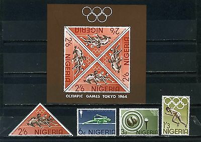 NIGERIA 1964 Sc#165-168a SUMMER OLYMPIC GAMES TOKYO SET OF 4 STAMPS & S/S MNH