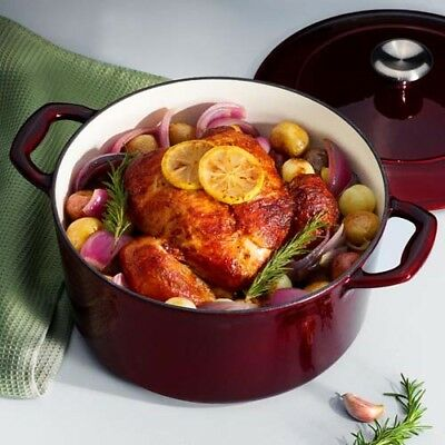 5.5-Qt Red Covered Round Dutch Oven Cast Iron Porcelain Enamel Cookware Pot Lid
