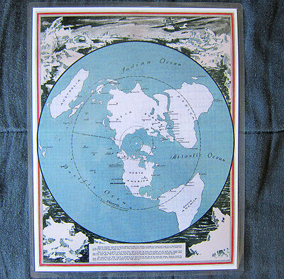 Laminated Earth Flat North Polar Projection World mini map 9 x 11.5