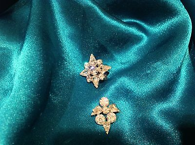 Set Of Two Vintage Clear Cluster Rhinestone Pins