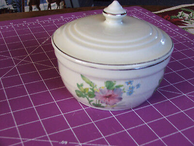 MEDALLION Hall China Covered Grease Drippings Jar Pastel Morning Glory