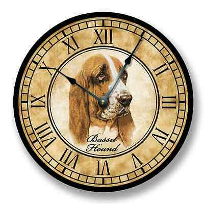 Basset Hound Wall CLOCK - Color Pencil Sketch - Old World Look  _FTLLC