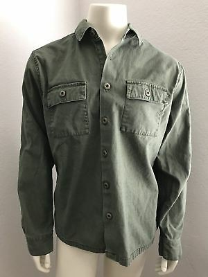 21 Men Utility Military Olive Green Long Sleeve Button Up Shirt Size