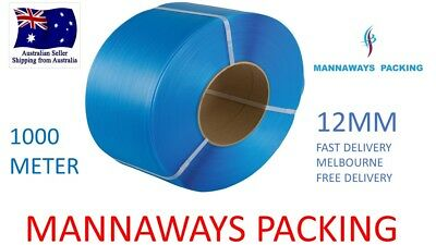 12mm x 1000m Blue Poly Strap Strapping Polypropylene Packing, 130 kg Break load