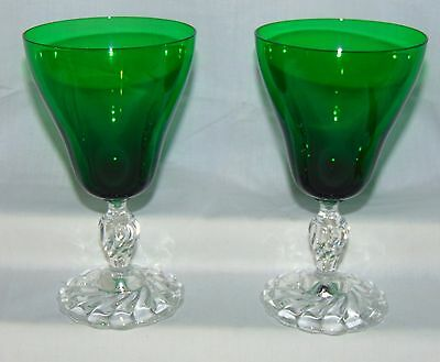 "2 Fostoria COLONIAL DAME* GREEN* 6 1/2"" 11 oz WATER GOBLETS*"