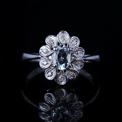 10K White Gold 6x4mm Oval Aquamarine Wedding Anniversary Flower Diamonds Ring