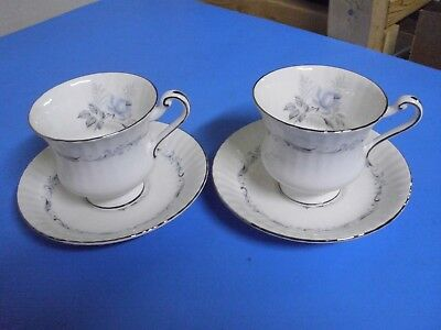 Lot Of 2 Paragon Bone China Morning Rose Tea Cups + Saucers