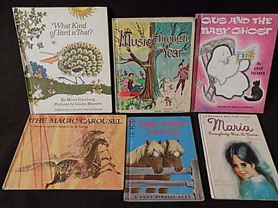 Lot of 6 Vintage Mid-Century Children's Hardcover Illustrated Books