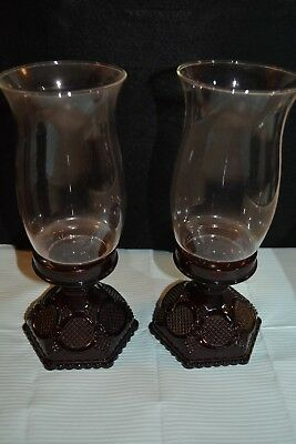 Vintage Ruby Red Avon 1876 Cape Cod Collection Hurricane Candles Set Of 2