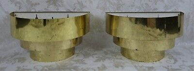 Pair of Vintage Mid Century Three Tiered Brass Ribbon Wall Sconce Light Fixtures