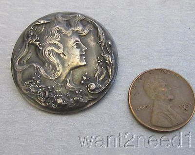 antique French silver metal ART NOUVEAU LADY BUTTON flowing hair profile 30mm