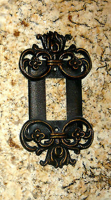 Metal Single Rocker, Switch Plate, Cover Old World Tuscan Fleur de Lis Medieval