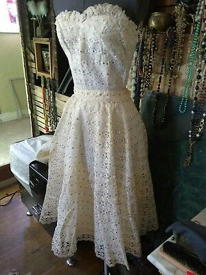 Authentic 1950s Ivory Lace PinUp Sequin Skirt and Bustier/ Vegas Wedding