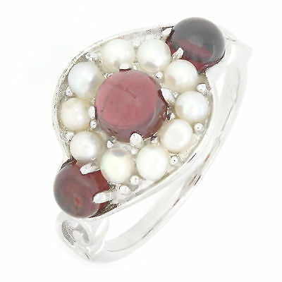Natural Mozambique Garnet & Fresh Water Cultured Pearl Ring R224MG