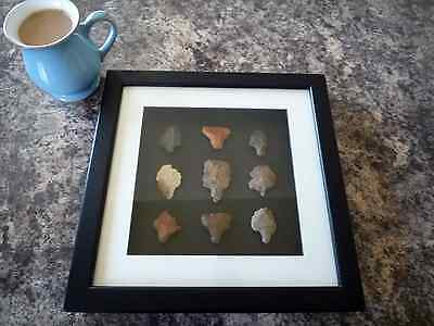 Paleolithic Arrowheads in 3D Picture Frame, Authentic Artifacts 70,000BC (O007)