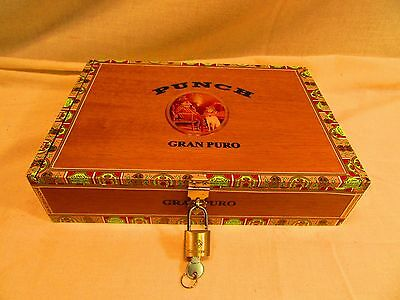 Wood cigar box with lock and key Great for Kids