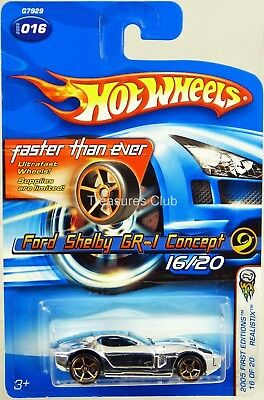 Hot Wheels Ford Shelby GR-1 Concept 2005 First Editions #G7929 New Chrome 1:64