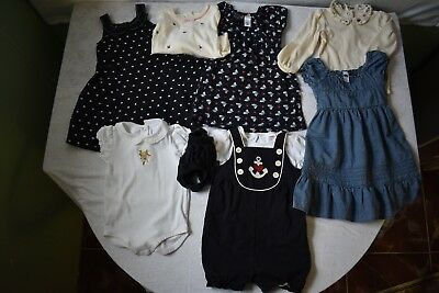 9 Piece Lot Girls Clothes Size 2T Dresses Jumpers Tops 16H