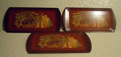 Vintage Haskelite Wood/paper Snack Trays, Lot Of 3 With Lithograph Colonial