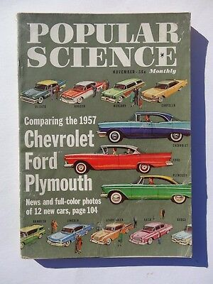 Vintage Popular Science Magazine November 1956 Cars Chevy Ford Plymouth Ads