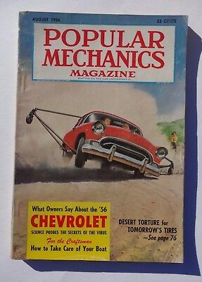 Vintage Popular Mechanics Magazine August 1956 Cars Chevy Ads Boats Building