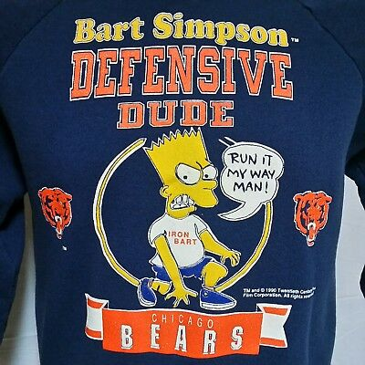 VTG 1990 Bart Simpson Sweatshirt 90s Chicago Bears 80s Iron 50/50 Movie Large