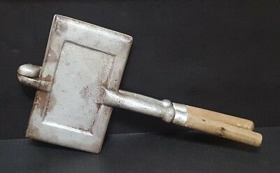 Vintage Antique Cast Aluminum Smooth Sandwich Panini Bacon Toaster Press Camp